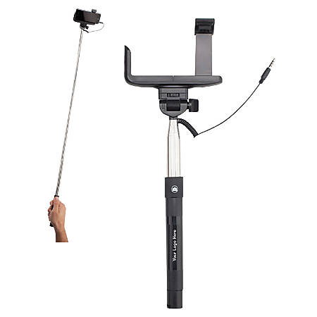 "Selfie Stick, 42 1/2""H x 4""W x 1""D, Silver/Black"
