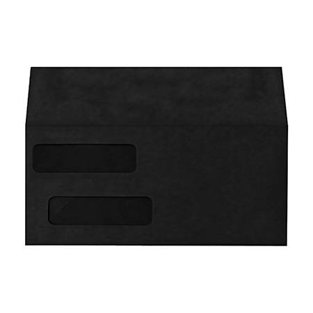 """LUX Double-Window Invoice Envelopes With Moisture Closure, #10, 4 1/8"""" x 9 1/8"""", Midnight Black, Pack Of 50"""