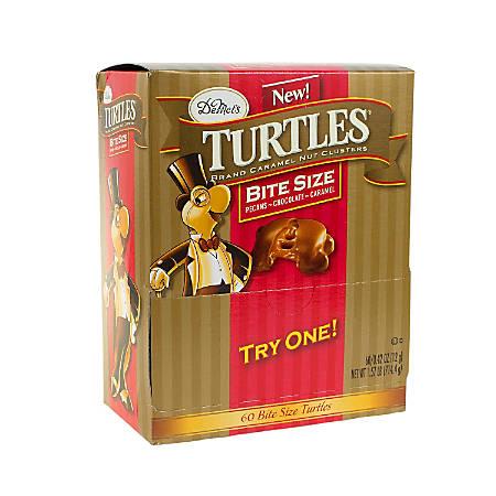 Turtles Original Bite-Size Candies, 0.42 Oz, Pack Of 60