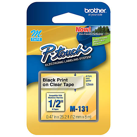 "Brother® M-131 Black-On-Clear Tape, 0.5"" x 25'"