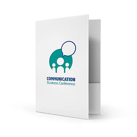 "Custom 2-Color Flat Print, 1 or 2 Pocket Presentation Folder, 9"" x 12"", Box of 50"