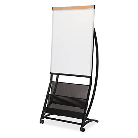 Lorell® Mobile Magnetic Dry-Erase Board Magazine Stand, Black