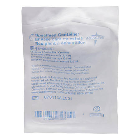 Medline Sterile Specimen Containers, 4 Oz, Pack Of 100 Containers