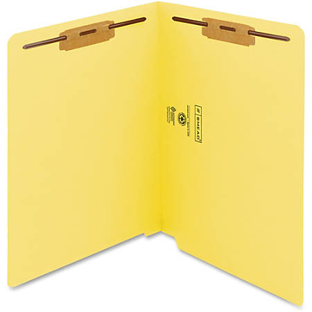 """Smead® WaterShed® CutLess® End-Tab Fastener Folders, 8 1/2"""" x 11"""", Letter Size, Yellow, Box Of 50 Folders"""