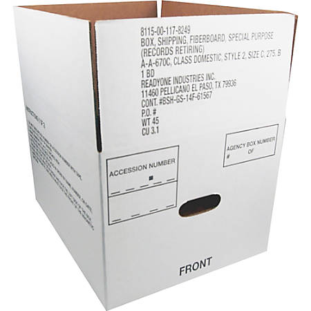 "40% Recycled Storage Box, 14 3/4"" x 12"" x 9 1/2""D, Carton Of 25 (AbilityOne 8115-00-117-8249)"