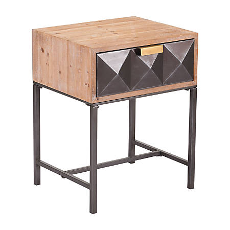 Zuo Modern End Table, Rectangle, Antique/Black