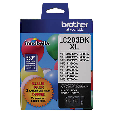 Brother® LC2032PKS High Yield Black Inkjet Cartridges, Pack Of 2