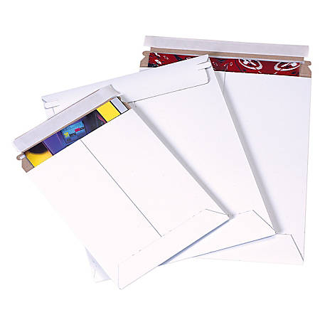 """Office Depot® Brand Self-Seal White Flat Mailers, 9 3/4"""" x 12 1/4"""", Pack Of 25"""