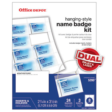 Office Depot® Brand Name Badge Kit, Pack Of 24