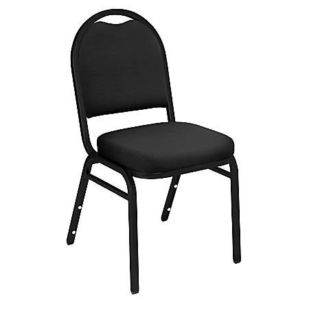 National Public Seating Dome-Back Stacking Chairs, Fabric, Ebony Black/Black, Set Of 2