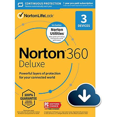 Norton 360 Deluxe 25GB with Norton Utilities 1 User 3 Device 12mo