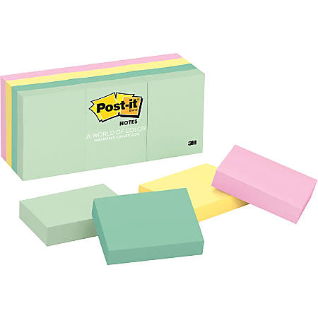 Post-it® Notes, 1 3/8 in. x 1 7/8 in., Marseille Collection, 12 Pads/Pack
