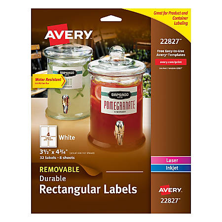 """Avery® Removable Durable Rectangle Labels, 22827, 3 1/2"""" x 4 3/4"""", White, Pack Of 32"""
