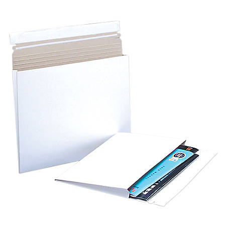"""Office Depot® Brand Gusseted Flat White Self-Seal Mailers, 10"""" x 7 3/4"""" x 1"""", Box Of 100"""