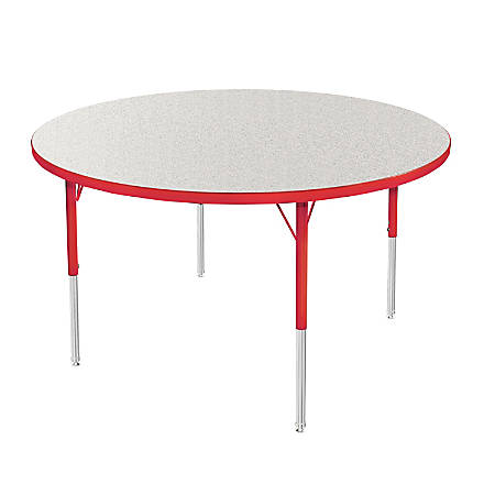 """Marco Group 48"""" Activity Table, Round, 16 - 24""""H, Gray Glace/Red"""