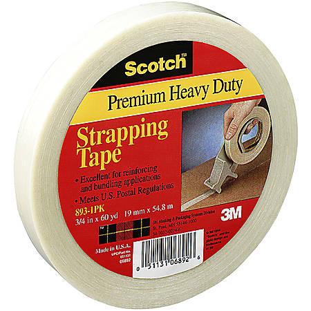 "3M® 8932 Strapping Tape, 3/8"" x 60 Yd., Clear, Case Of 96"