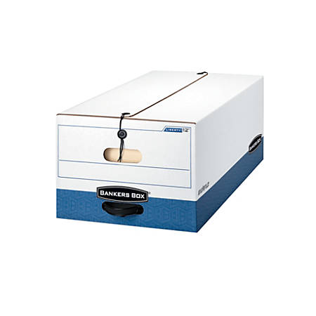 """Bankers Box® Liberty® FastFold® Storage Boxes, 24"""" x 15"""" x 10"""", Legal, 60% Recycled, White/Blue, Pack Of 12"""