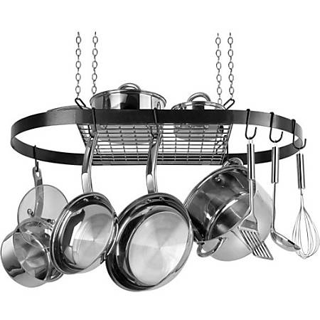 "Range Kleen CW6000R Oval Hanging Pot Rack - Black - 1.5"" Height x 33"" Width x 17"" Depth - Ceiling Mountable - Black - Metal"