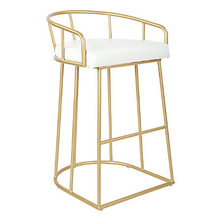"Ave Six Luna 35 1/2""H Barstool, White/Gold"