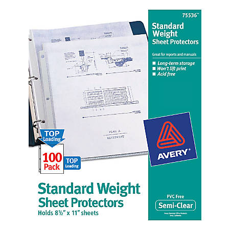 Avery® Top-Loading Nonstick Sheet Protectors, Standard, Box Of 100