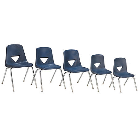 """Scholar Craft™ 120 Series Student Stacking Chairs, Small, 25""""H x 15 3/4""""W x 18""""D, Navy, Set Of 5"""