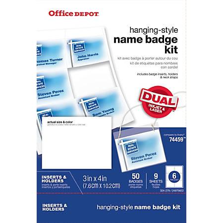 Office Depot® Brand Name Badge Kit, Pack Of 50