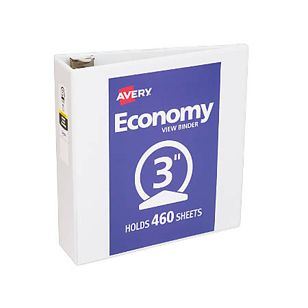 "Avery® Economy View Binder With Round Rings, 8 1/2"" x 11"", 3"" Rings, White"