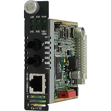 Perle CM-1110-S2ST70 Gigabit Ethernet Media Converter - 1 x Network (RJ-45) - 1 x ST Ports - 10/100/1000Base-T, 1000Base-ZX - Internal