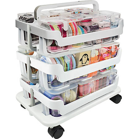 Deflect O Stackable Plastic Caddy Organizer System 22 14 H x 16 W x ...