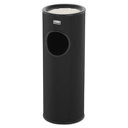Rubbermaid® Commercial Metallic Series Round Steel Waste Receptacle With Sand Pan, 3.5 Gallons, Black
