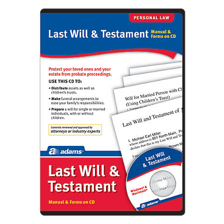 Adams® Last Will And Testament, For PC And Apple® Mac®, Traditional Disc