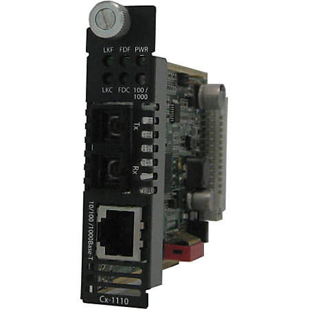 Perle C-1110-S2SC70 Media Converter - 1 x Network (RJ-45) - 1 x SC Ports - 1000Base-ZX, 10/100/1000Base-T - Internal