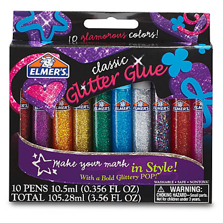 Elmer's® Glitter Glue, 0.36 Oz, Assorted Colors, Set Of 10