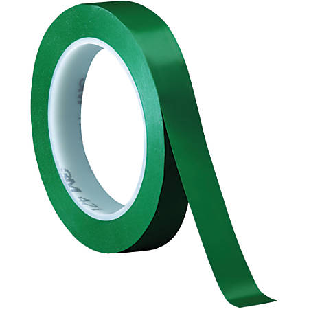 "3M™ 471 Vinyl Tape, 3"" Core, 0.75"" x 36 Yd., Green, Case Of 48"