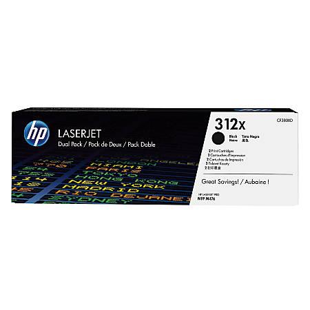 HP LaserJet 312X High-Yield Black Toner Cartridges (CF380XD), Pack Of 2