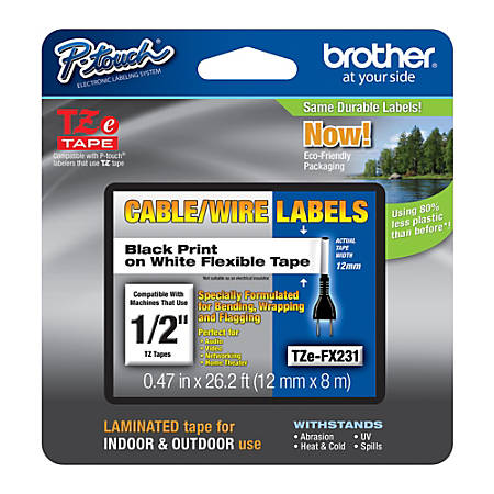 "Brother® TZe-FX231CS Black-On-White Tape, 0.5"" x 26.2'"