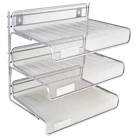 Brenton Studio™ Metro Mesh 3-Tier Desk Shelf, Pewter