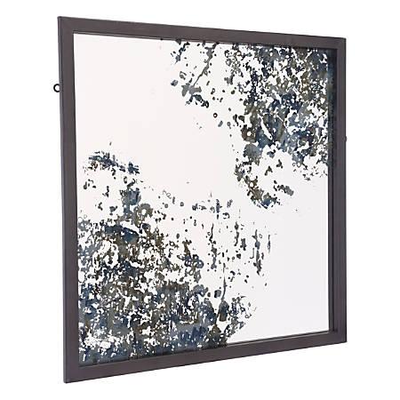"Zuo Modern Vintage Square Mirror, 25 1/4""H x 25 1/4""W x 1""D, Antique Blue"