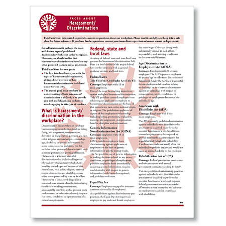 "ComplyRight Fact Sheets, Harassment/Discrimination, 8 1/2"" x 11"", Pack Of 50"