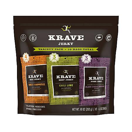 Krave Beef Jerky Variety Packs, 1 Oz, Bag Of 10