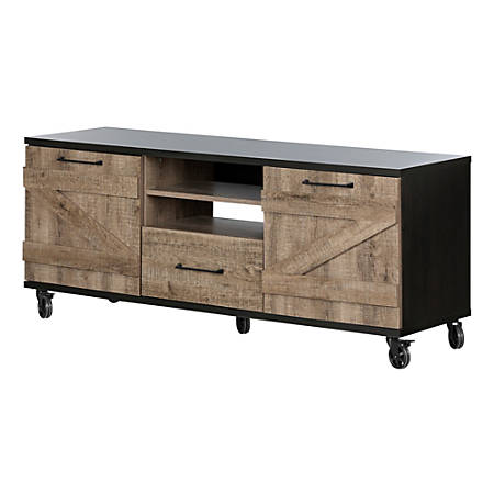 "South Shore Valet Industrial TV Stand On Wheels For 65"" TVs, Weathered Oak/Ebony"