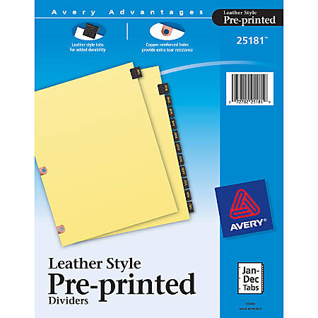 Avery® 30% Recycled Copper-Reinforced Leather Style Tab Dividers, Jan.-Dec.