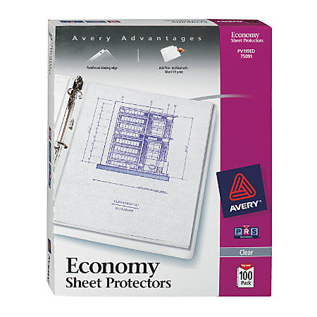 """Avery® Top-Loading Nonstick Sheet Protectors, Economy, Diamond Clear, 8 1/2"""" x 11"""", Box Of 100"""