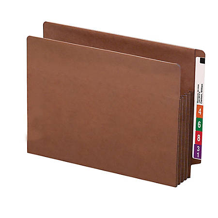 """Smead® TUFF® End-Tab File Pockets, 3 1/2"""" Expansion, Letter Size, 30% Recycled, Redrope, Box Of 10"""