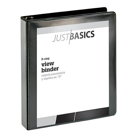 "Just Basics D-Ring View Binder, Basic, 1 1/2"" Rings, 38% Recycled, Black"