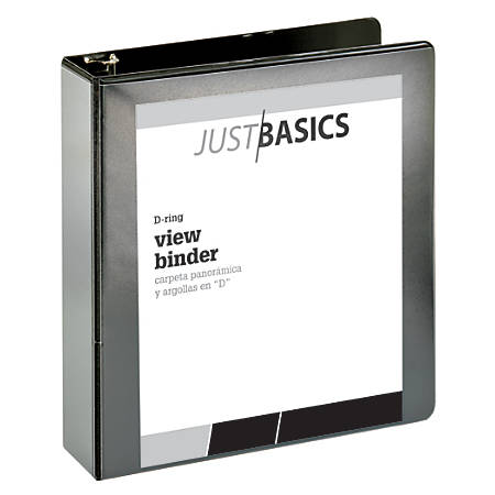 "Just Basics D-Ring View Binder, Basic, 2"" Rings, 38% Recycled, Black"