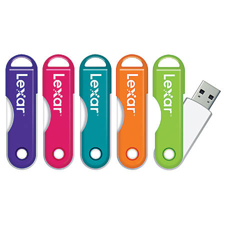 Lexar® JumpDrive® TwistTurn USB 2.0 Flash Drive, 64GB, Assorted Colors