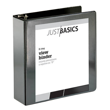 "Just Basics D-Ring View Binder, 3"" Rings, 38% Recycled, Black"