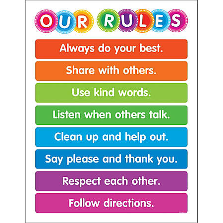"Color Your Classroom Chart, Our Rules, 17"" x 22"", Multicolor, Grades Pre-K - 6"