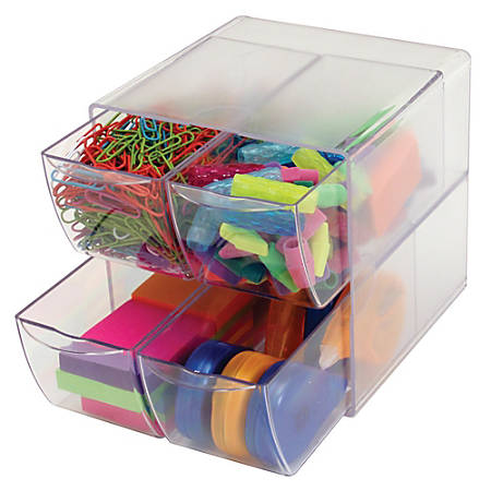 """Deflect-O® Stackable Cube With 4 Drawers, 6""""H x 6""""W x 7 1/8""""D, Clear"""